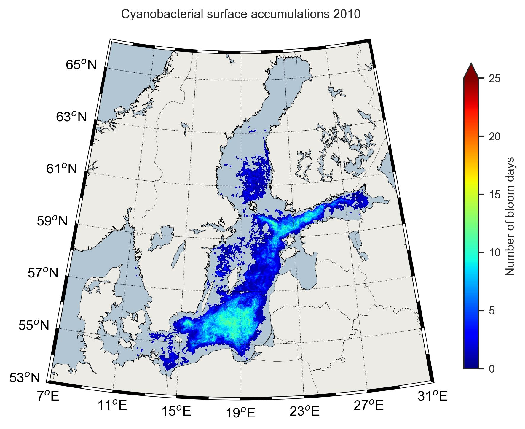 Karta över cyanobakterier 2010