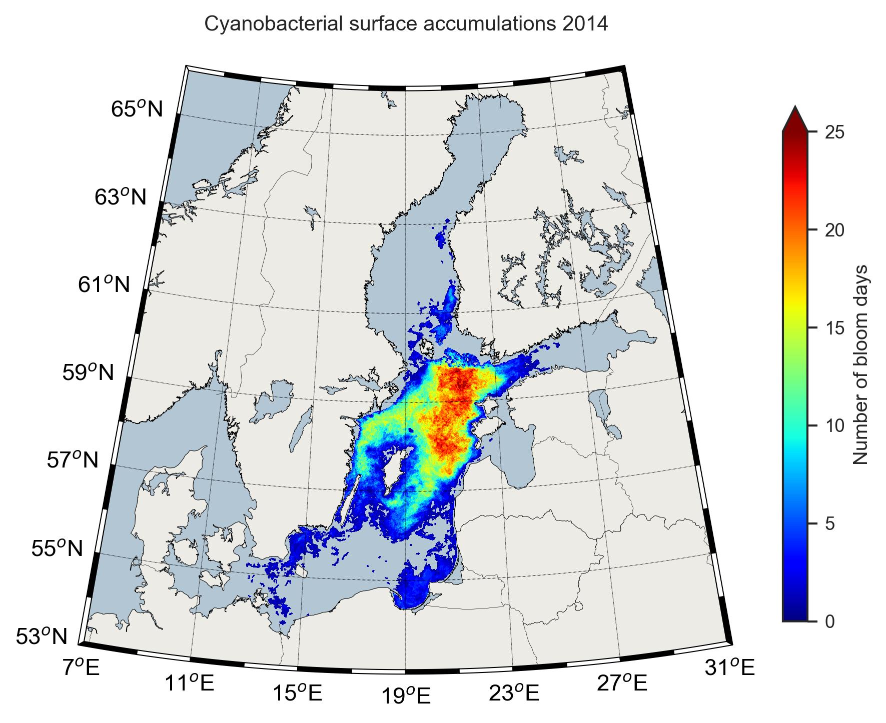 Karta över cyanobakterier 2014