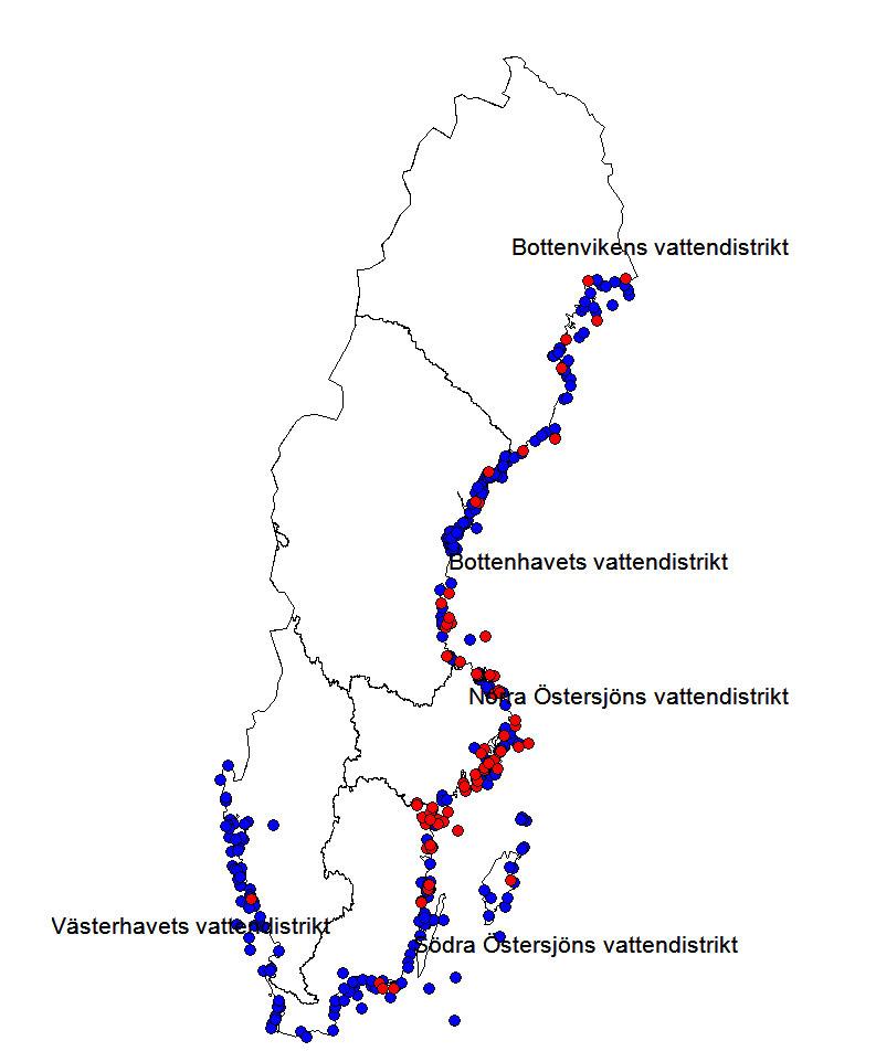 Förekomst av nors i fiskövervakning längs kusten under 2000-talet. Illustration.