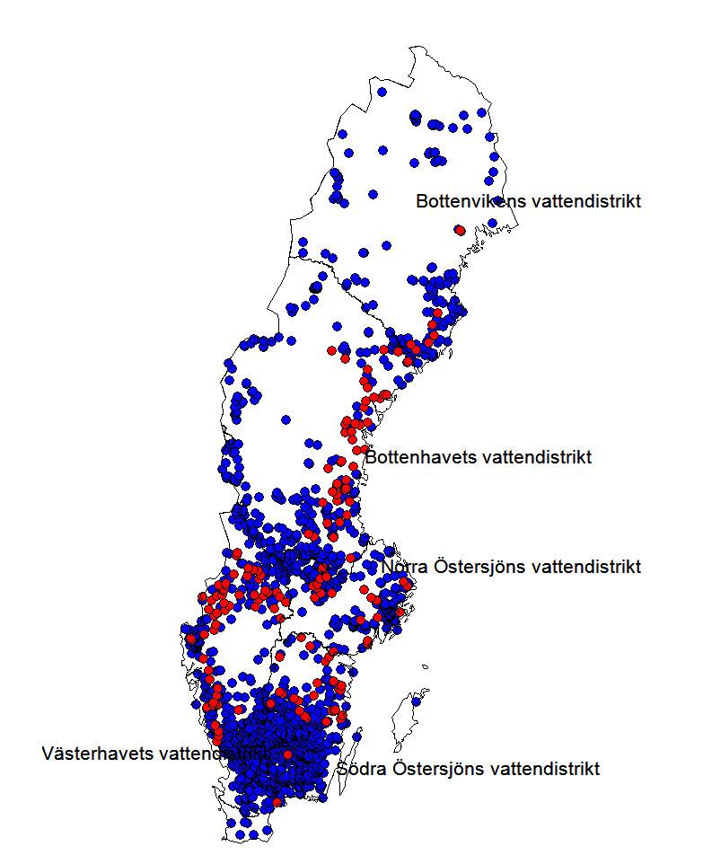 Norsförekomst i sjöar och vattendrag under 2000-talet. Illustration.