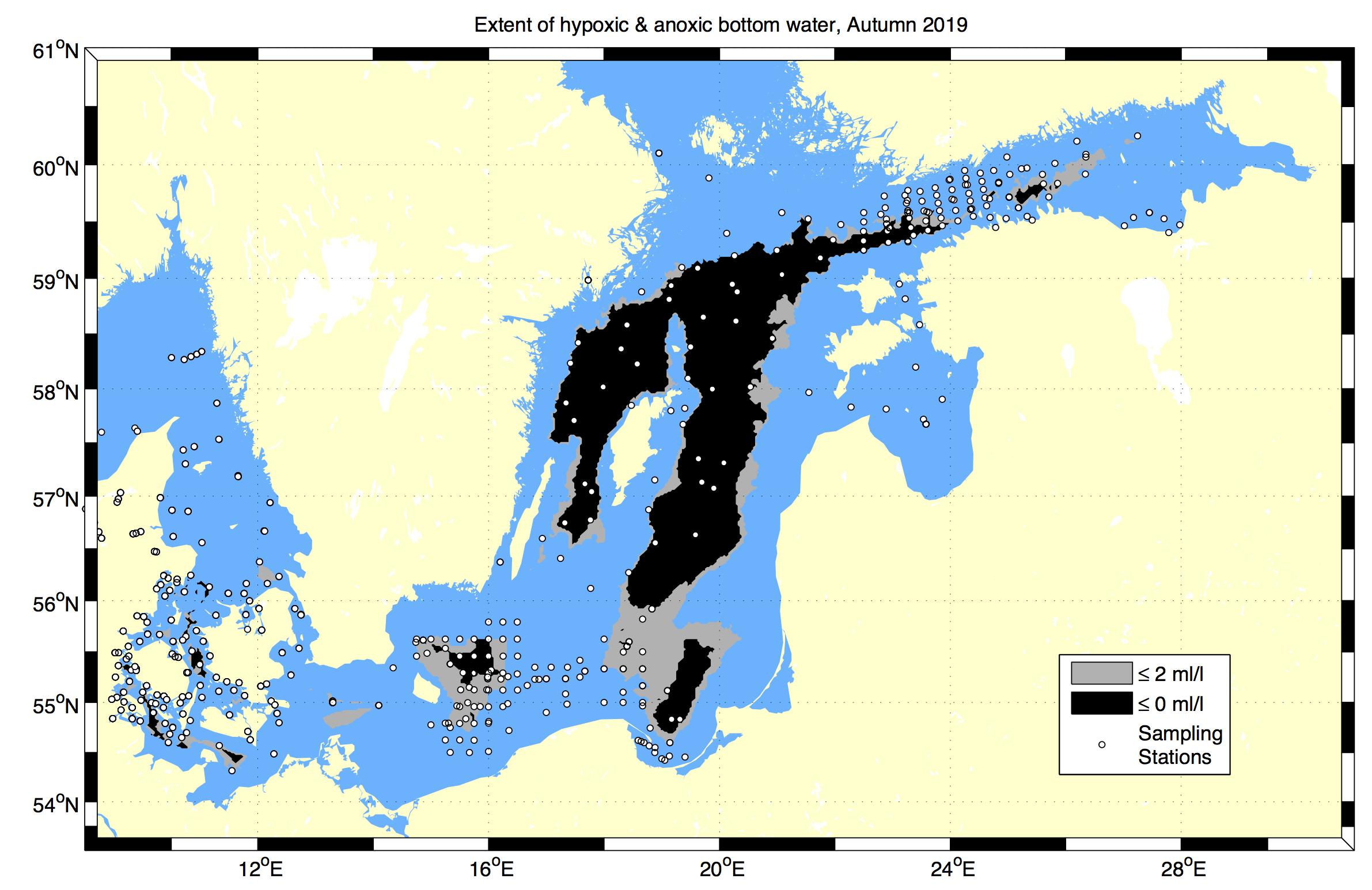 Karta över syrefria områden i Östersjön
