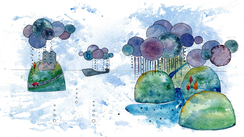 Akvarell som illustrerar klimat.