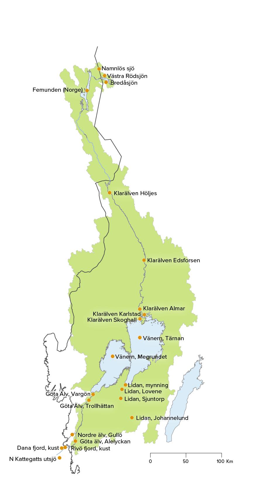 Karta av Göta älvs avrinningsområde med 24 utvalda stationer utmarkerade