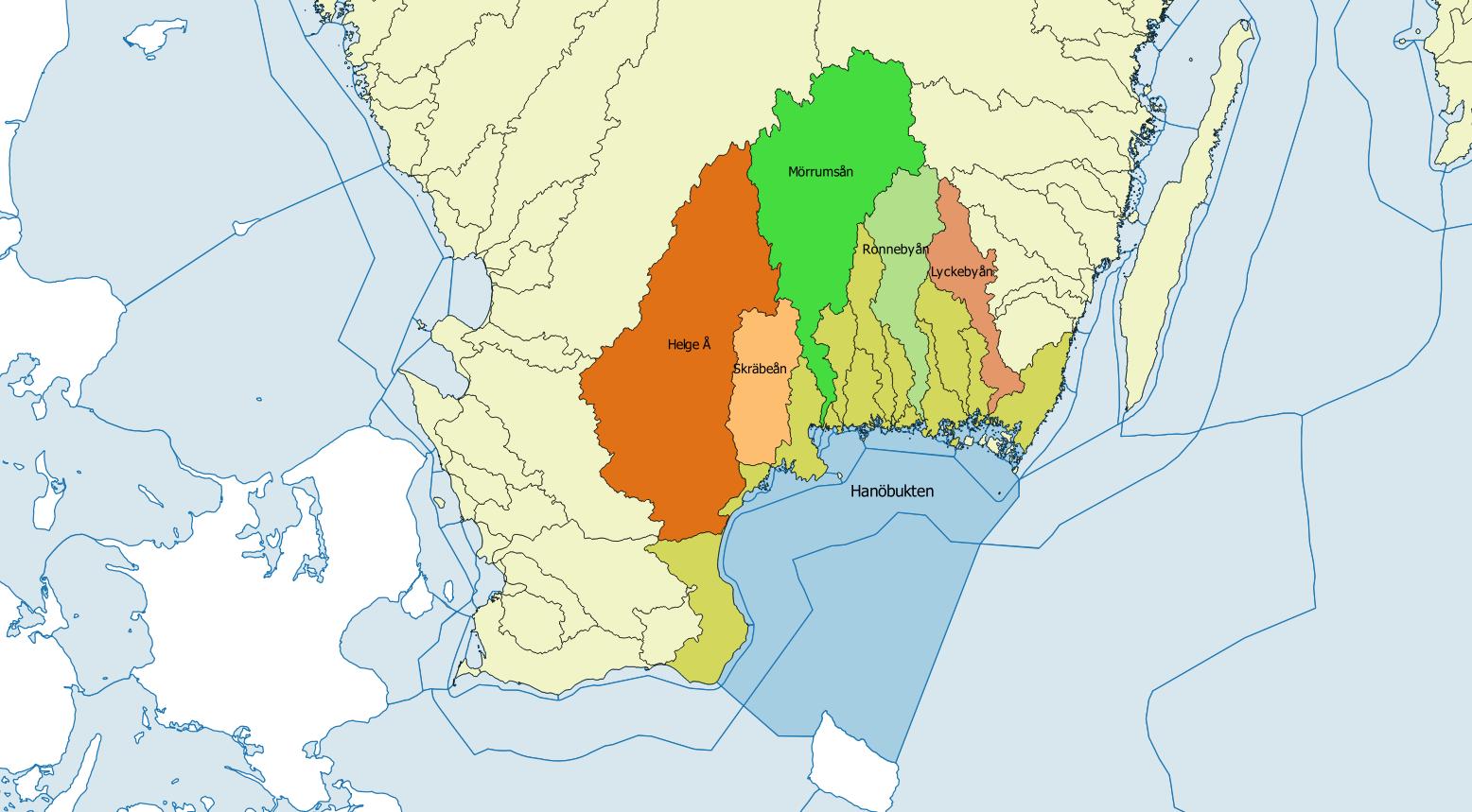 karta över hanöbuktens avriningsområden