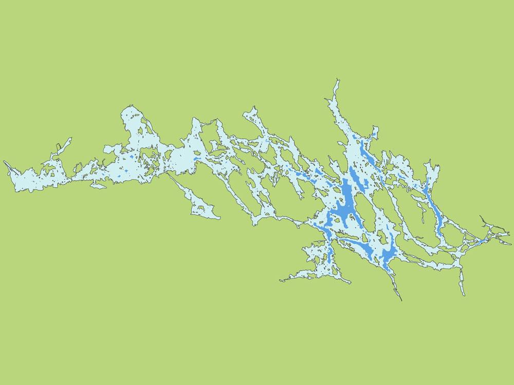 Kartbild över områden där ettåriga eller äldre siklöjor återfinns på sommaren.
