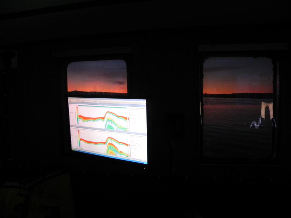 Ögonblicksbild från nattlig hydroakustisk undersökning. Foto.