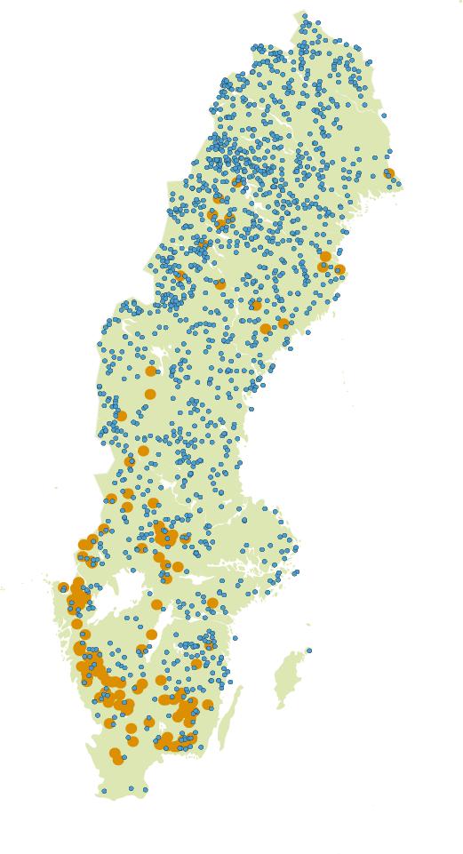 Karta som visar andel försurade sjöar i Sverige