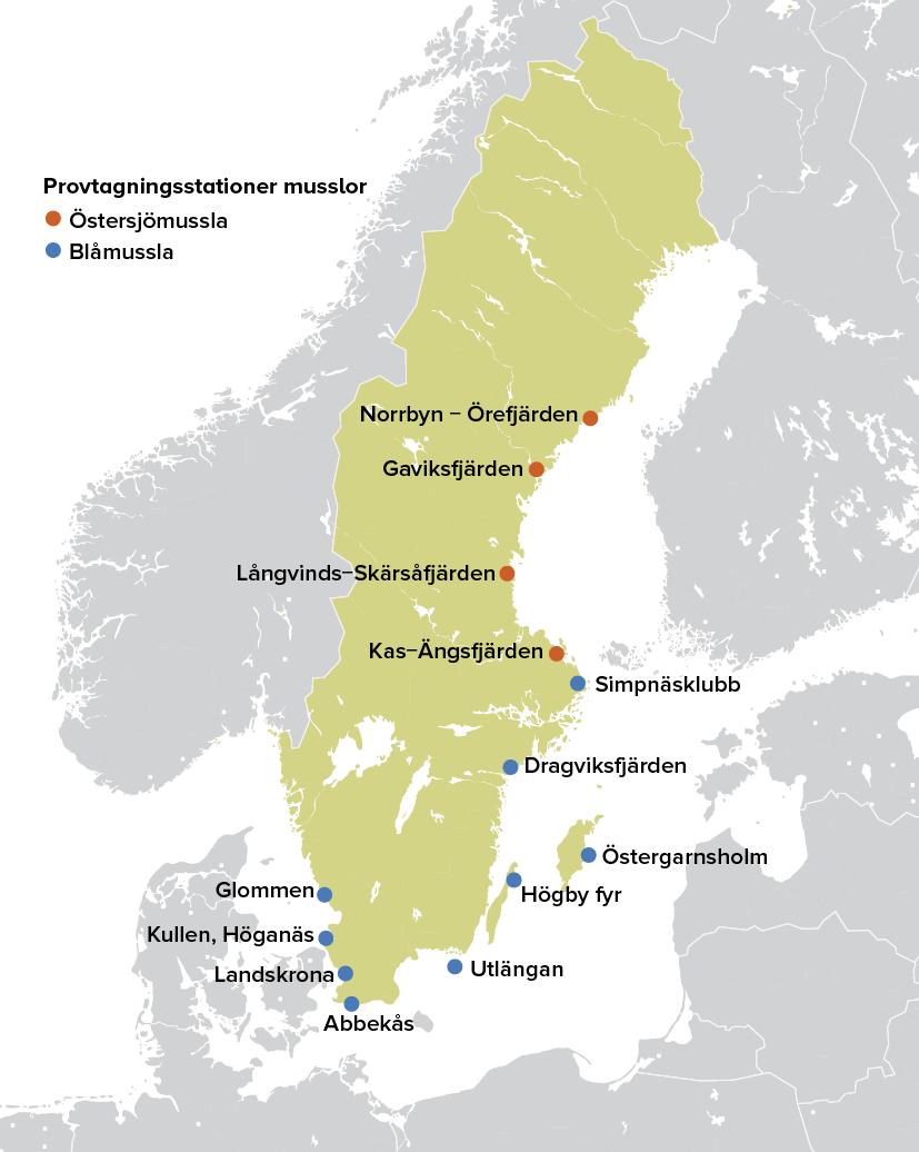 Karta som visar provtagningsstationer