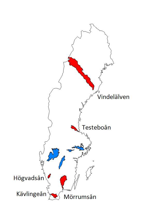 Karta som visar lokalisering av Sveriges indexvattendrag. Illustration.