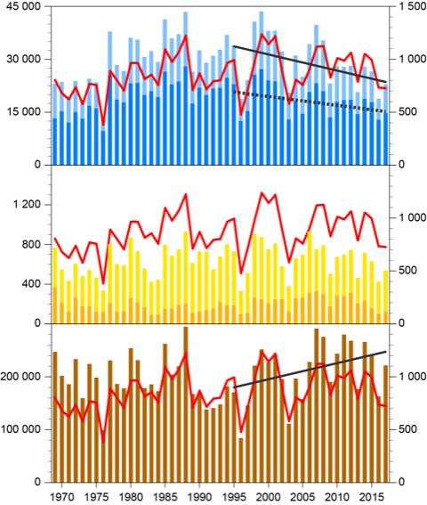 Diagram som visar näringsbelastningen till Kattegatt 1969-2017
