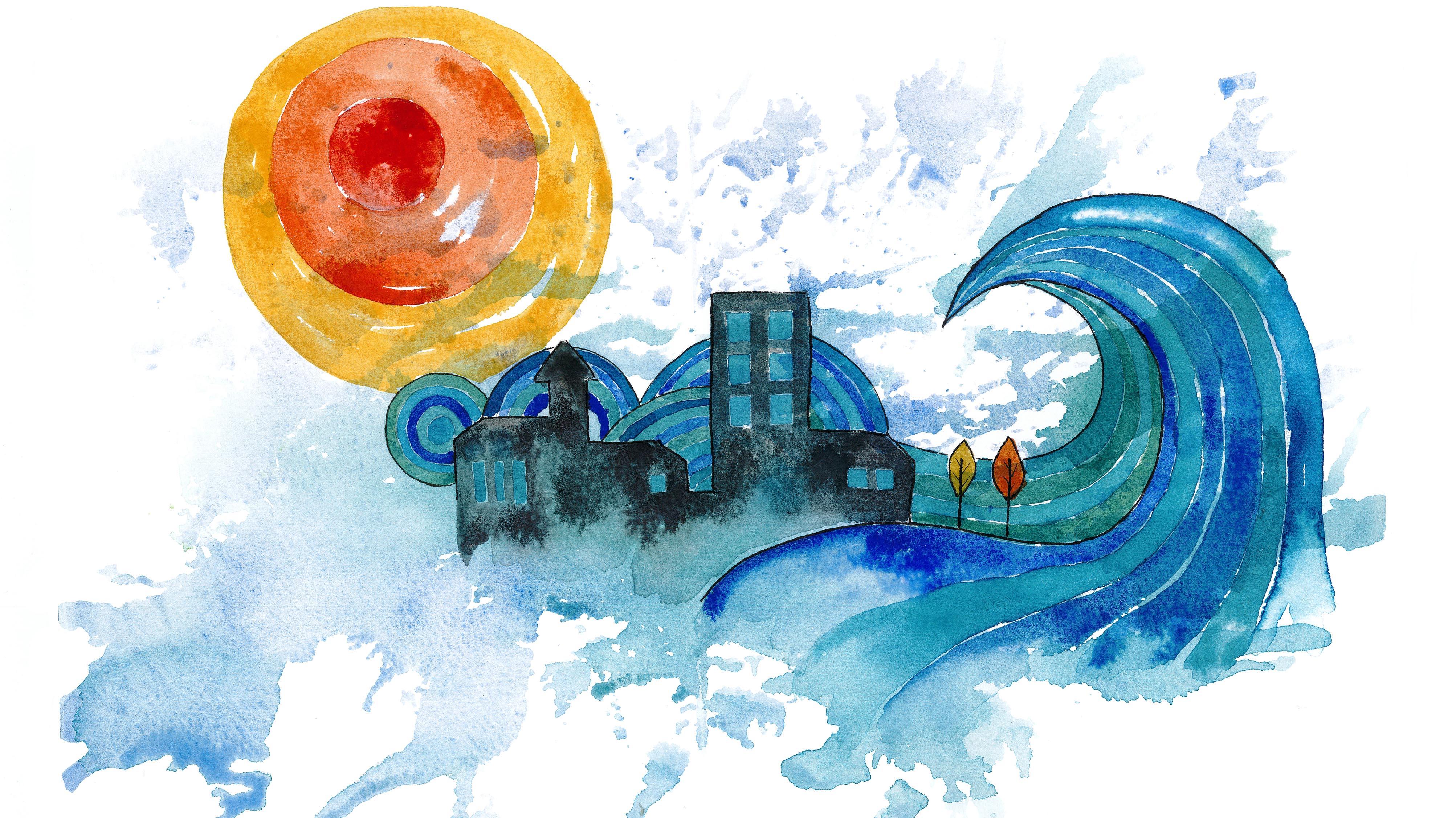 akvarellillustration av klimat, en stor våg och en sol