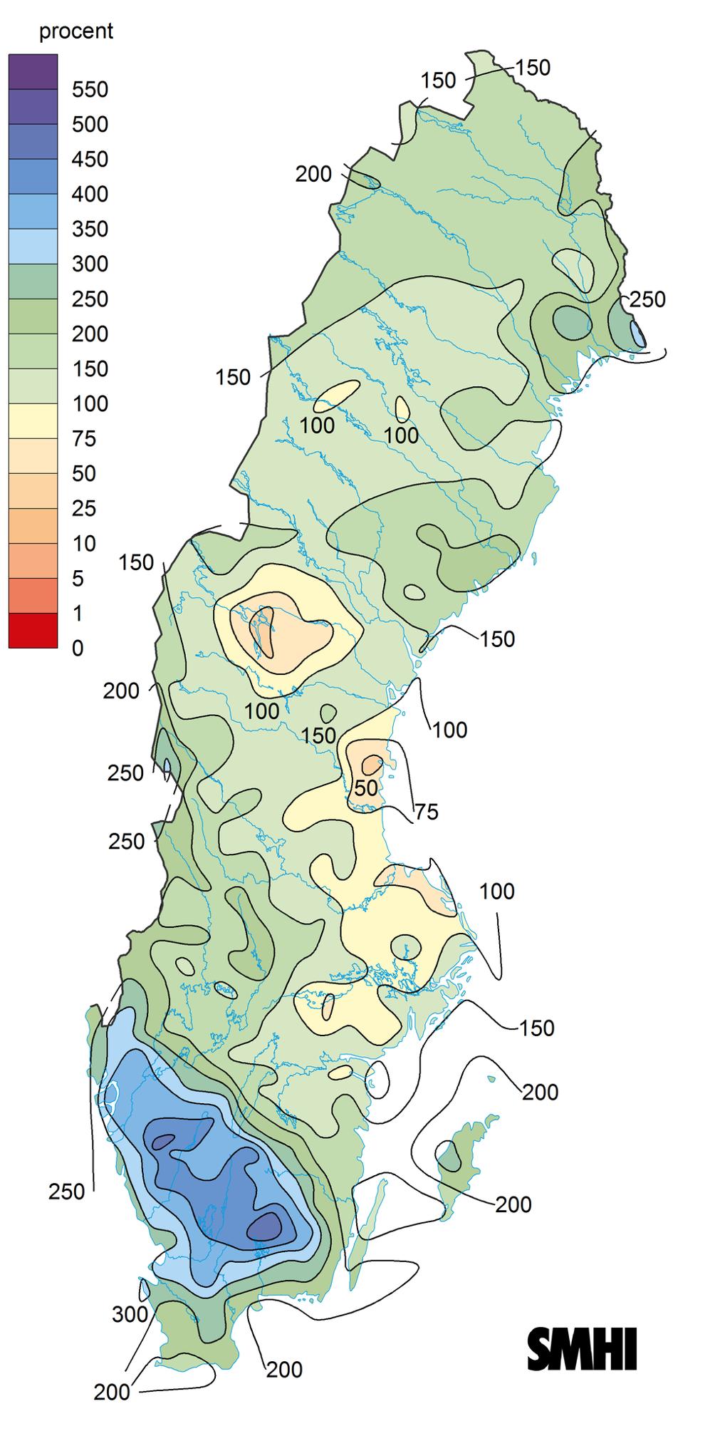 Karta som visar månadsnederbörd i februari 2020