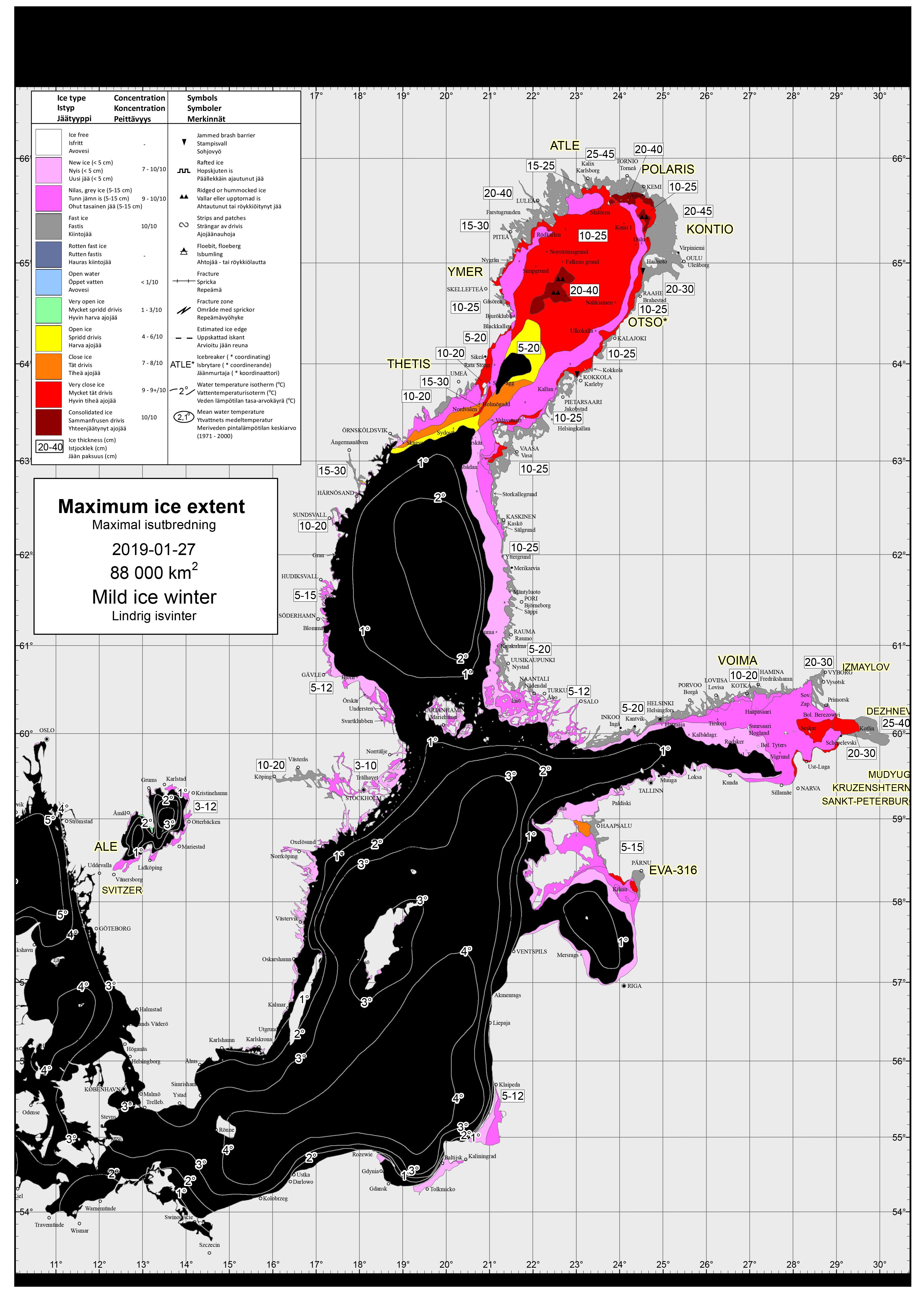 Karta som visar maximal isutbredning 2019.
