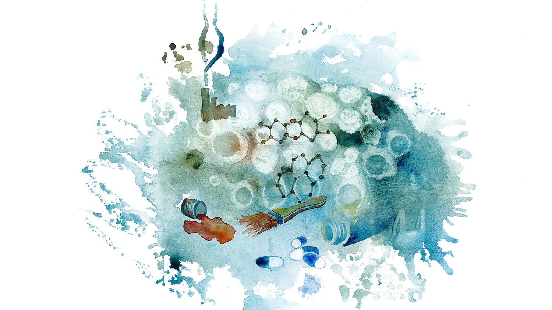 Målad bild som visar utsläpp av miljögifter i vattenmiljön.