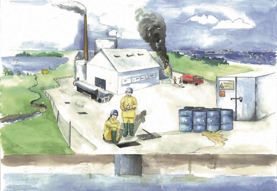 Illustration av risker för dricksvattten nära industri