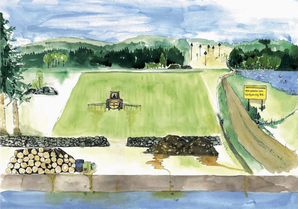 Illustration av risker med dricksvatten nära jordbruk