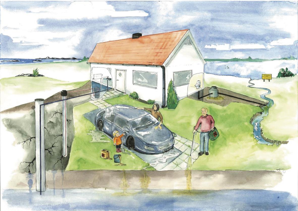 Illustration av dricksvattenförsörjning i villaområde