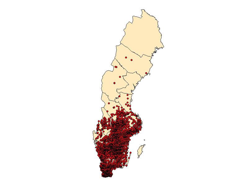 Kartbild med röda prickar som visar förekomst av signalkräfta i Sverige, maj 2020.