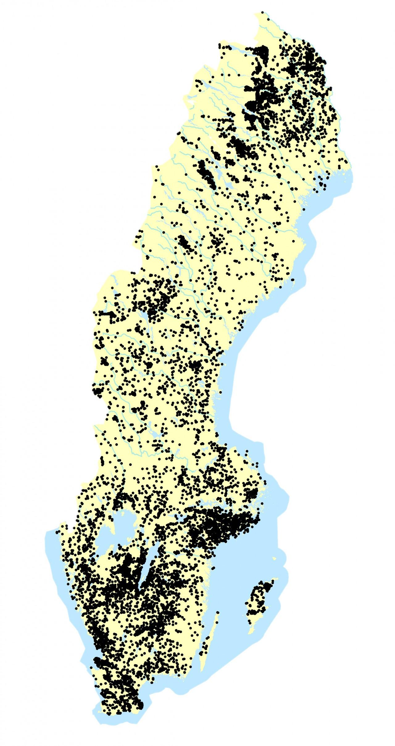 Sverige karta med påträffade källmiljöer.