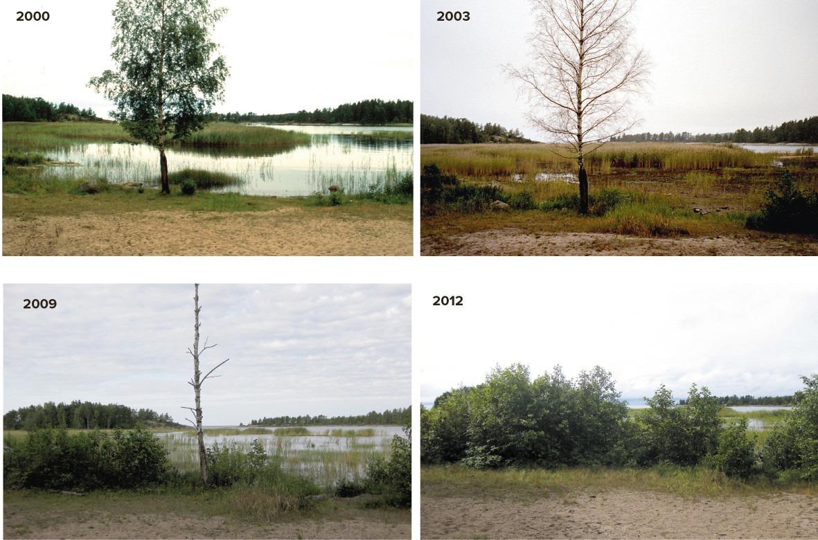 Bilder som vissar strands förändring över tid