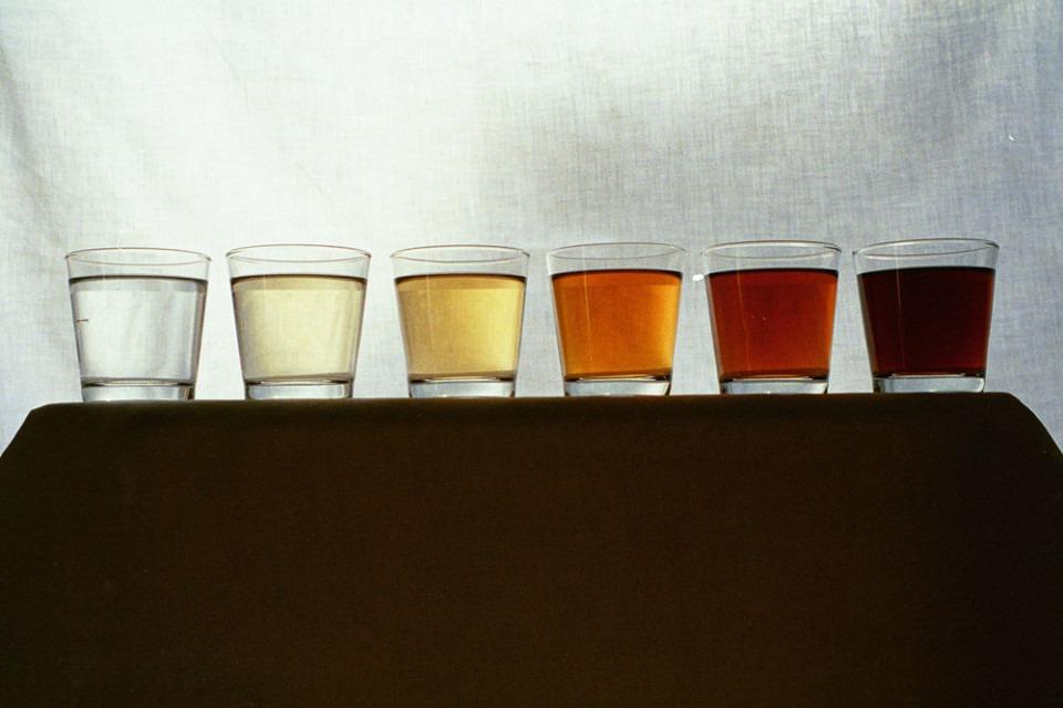 Vattenglas med vatten i olika färger som mått på vattnets brunhet