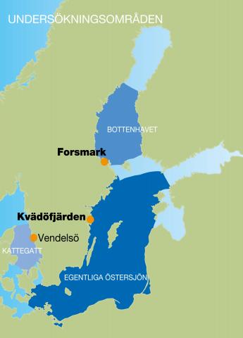 Karta över de områden där de kustnära fisksamhällenas utveckling studerades.