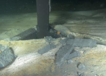 Havsbottnar utan bottenströmmar och med syrgasfattigt bottenvatten är ideala för miljöprovtagning då sedimentet kan byggas på ostört år efter år. När syrgashalten närmar sig noll kan man se svavelbakterien Beggiatoa breda ut sig som en vit filt över bottenytan. <br>Foto: SGU
