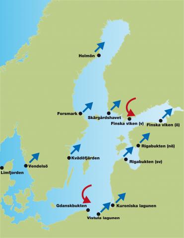 Förändringar i 13 kustekosystem. Ekosystemanalys utfördes i 13 kustekosystem. Blå pilar anger att det skett en riktad förändring av systemet som helhet sedan början av 1990-talet. Röda, böjda pilar indikerar att ekosystemet har förändrats över tid men också att tillståndet på 2010- talet liknar det som rådde under början av 1990-talet.