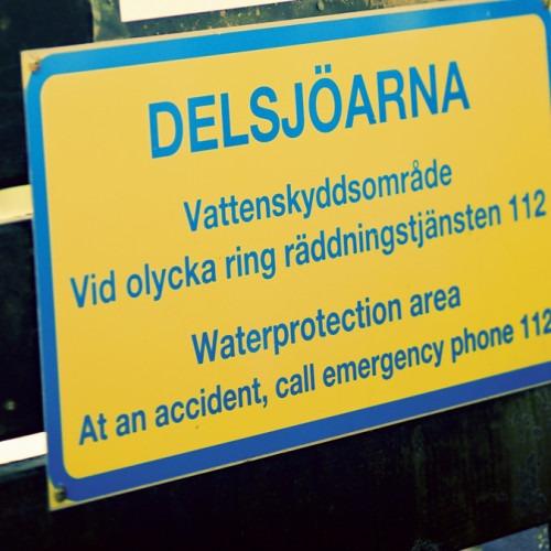 Skylt som visar vattenskyddsområde