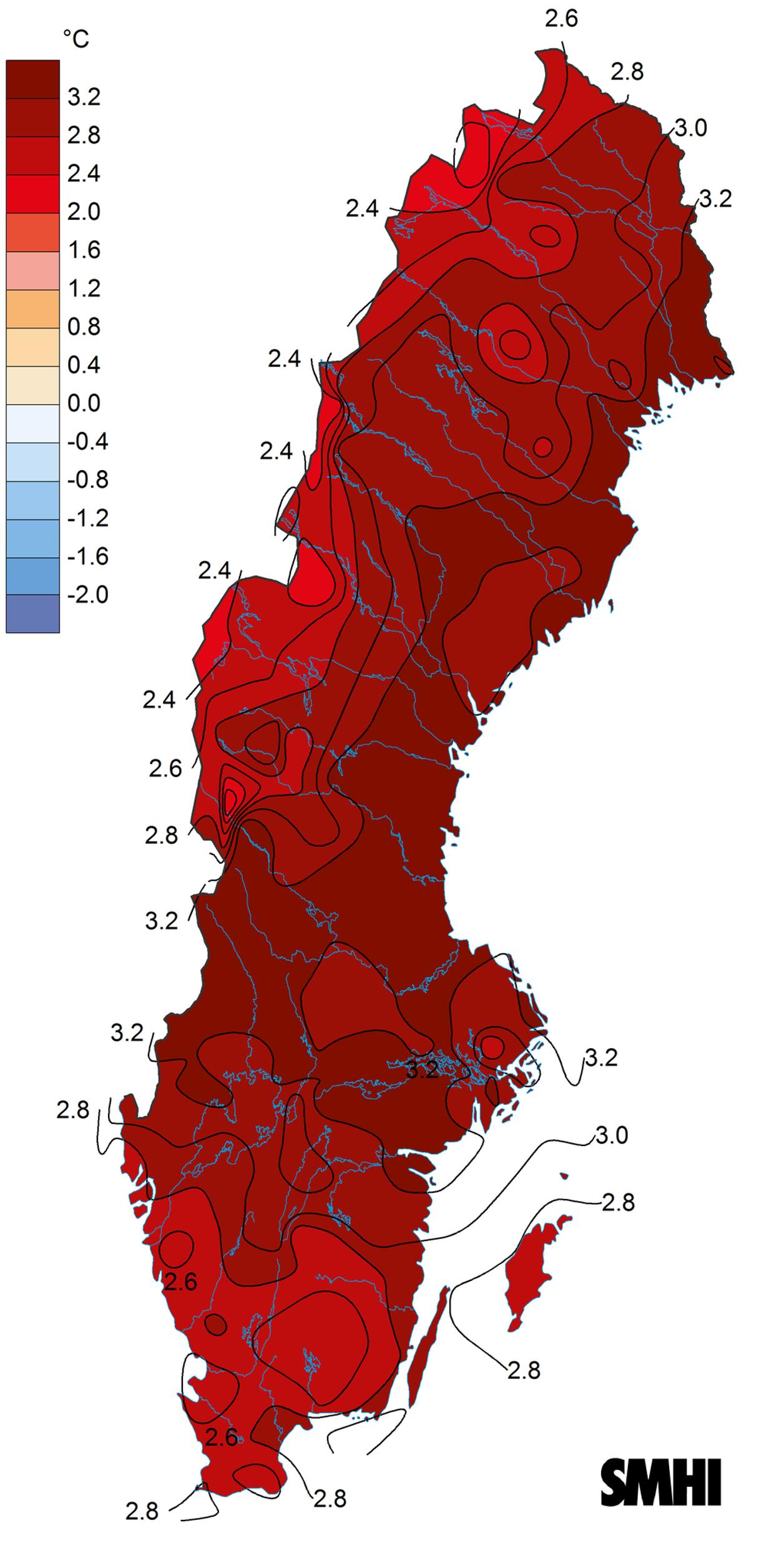 karta som visar medeltemperatur 2020