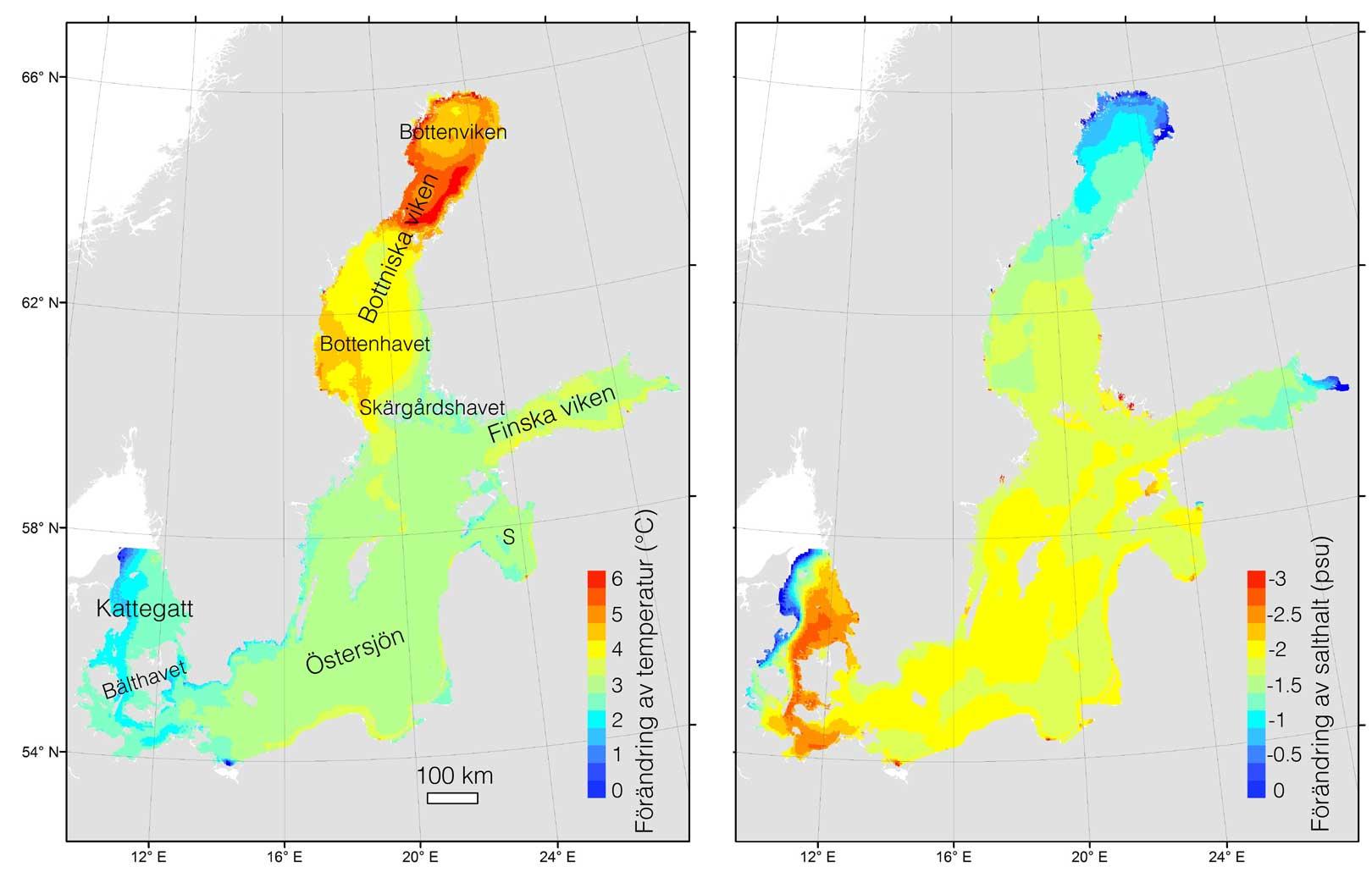 Kartor som visar modellerad förändring i svenska havs ytvattentemperatur och salthalt