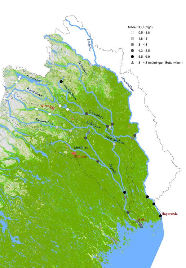 Karta som visar halten totalt organiskt kol (TOC) i Torne- och Kalixälven samt i Bottenviken.