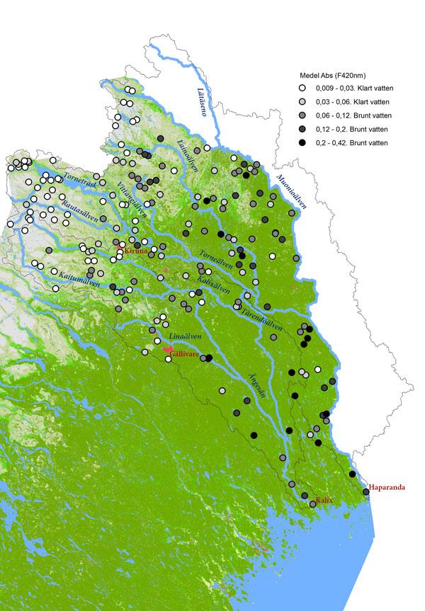 Karta som visar brunheten, mätt som vattnets absorbans, i Torne- och Kalixälven