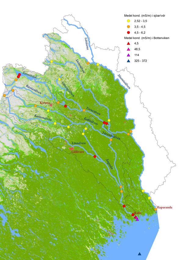 Karta som visar konduktiviteten i Torne- och Kalixälvens avrinningsområden