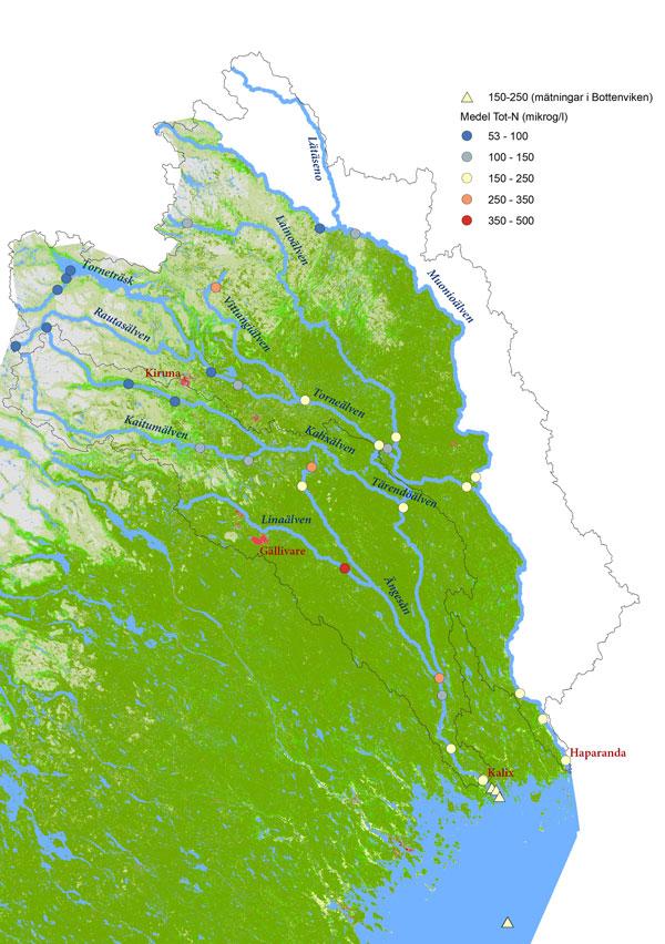 Karta som visar halten totalkväve i Torne- och Kalixälvens avrinningsområde