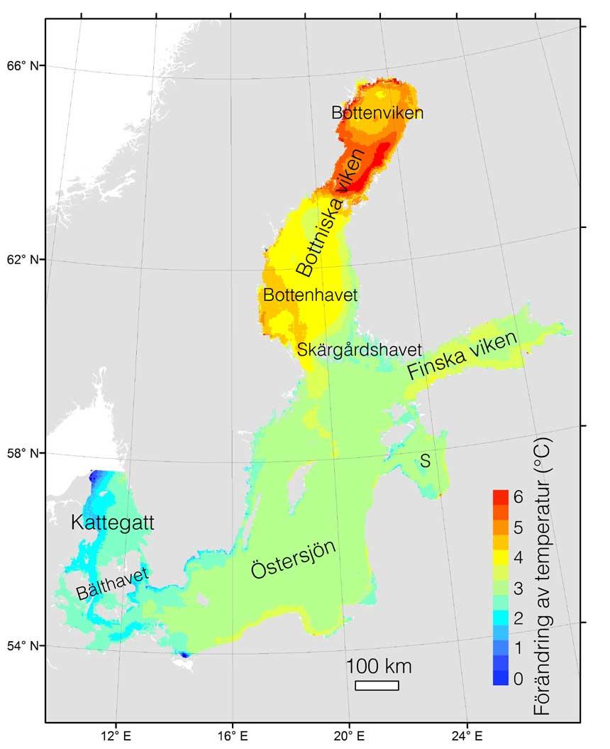 Modellerad förändring i svenska havs ytvattentemperatur